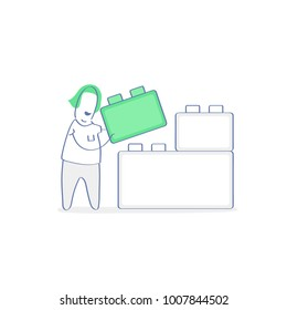 Cute woman building block wall, construction from blocks, concept of edifice, industry, engineering, building system from bricks, brainstorming, development, solution. Flat outline vector illustration