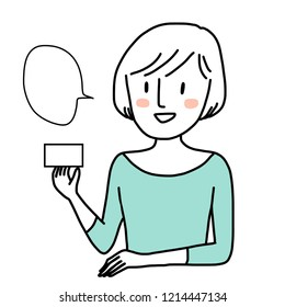 Cute woman in casual wear presenting blank card. Marketing concept with female presenter showing credit card or membership card in her hand. Speech bubble included. Cheerful woman promoting card.