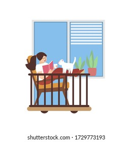 Cute woman with cat reading a book and drinking coffee on balcony cartoon vector illustration. Beautiful lady drinks a cup of tea. Summer hand drawn art