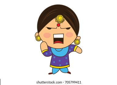 Cute Woman Character Angry. vector Illustration. Isolated on white background.