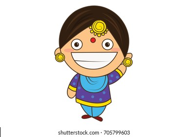 Cute Woman Character Laughing. vector Illustration. Isolated on white background.