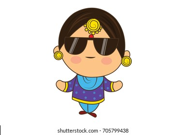 Cute Woman Character swagger. vector Illustration. Isolated on white background.