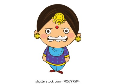 Cute Woman Character trembling with fear. vector Illustration. Isolated on white background.