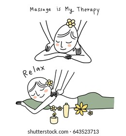 Cute woman with closed eyes enjoying neck and shoulder massage from masseuse and lighted aroma candle in spa salon. Vector illustration with hand-drawn style.
