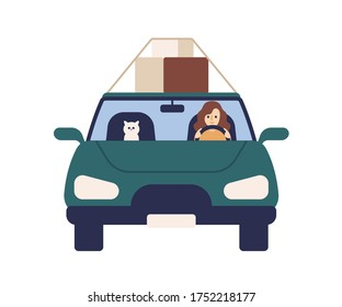 Cute woman driver ride at automobile with cat vector flat illustration. Female driver and pet carrying box on roof of car front view isolated on white. Smiling girl carry things on vehicle