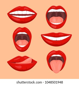 Cute woman mouth set. Woman emotions, girl mouth with red lips icon set. Flat vector style