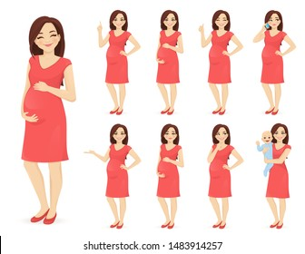 Cute woman pregnant in dress standing in different poses isolated vector illustration. Young mother holding her newborn baby.