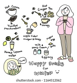 Cute woman in sweater holding a cup of hot drink. Happy drinks for winter concept with woman presenting hot cocoa with toasted marshmallows, honey & lemon water, eggnog, hot ginger tea, apple cider.