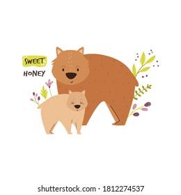 Cute wombat family. Baby cartoon design. Nursery art print. Vector illustration.