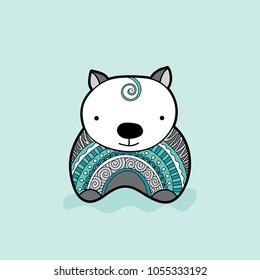 Cute wombat with a green and grey patterned jumper vector illustration on a pale green background.