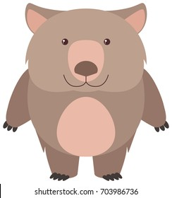 Cute wombat with happy face illustration