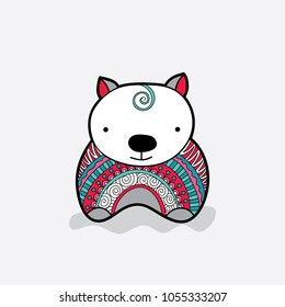 Cute wombat with a multi-coloured red and green patterned jumper vector illustration on a pale background.