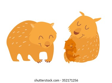 Cute wombats family. Vector illustration, isolated on white background