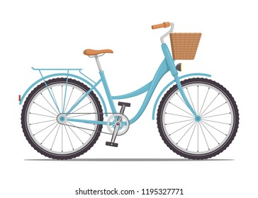 Cute women s bike with a low frame and basket in front. Vintage bicycle. Vector illustration in flat style