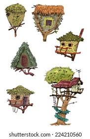 Cute wooden tree houses - cartoon