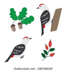 Cute Woodland Animals And Forest Plants Design Elements The Bird Woodpecker On A Tree