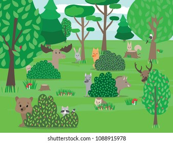 Cute Woodland Animals And Forest Plants Design Elements Beasts Birds Play Hide Seek