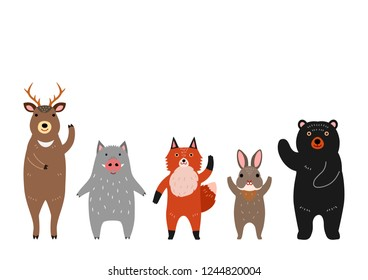cute woodland animals group