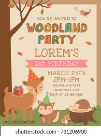 Cute woodland animals illustration with autumn scene for party invitation card template