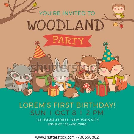 cute woodland animals illustration party invitation stock vector