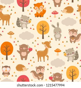 Cute woodland animals seamless pattern background