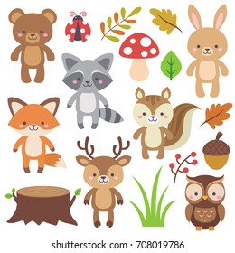 Cute Woodland Animals Set and Forest Elements. Colorful adorable vector illustration in flat style. Bear, raccoon, rabbit, fox, deer, owl, squirrel, acorn, log, leaves, lady bug, mushroom, ferns.