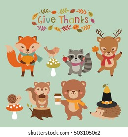 Cute woodland animals set for thanksgiving day design