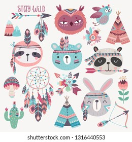 Cute Woodland boho tribal characters,  rabbit, owl, sloth, panda,bear. American indian set of Vector illustration.