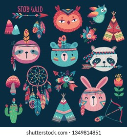 Cute Woodland boho tribal characters,  rabbit, owl, sloth, panda,bear on dark background. American indian set of Vector illustration.
