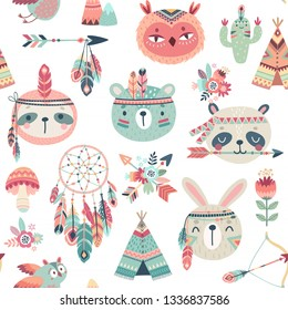 Cute Woodland boho tribal pattern,  rabbit, owl, sloth, panda,bear. American indian set of Vector illustration.