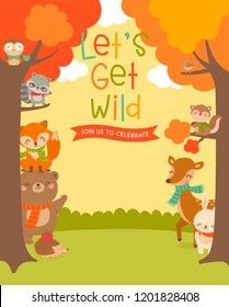 Cute woodland cartoon animals and big tree illustration with copy space for kids party invitation card template.
