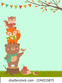 Cute woodland cartoon animals illustration with copy space for kids party invitation card template.