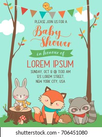 Cute woodland cartoon animals illustration for baby shower card template