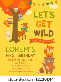 Cute woodland cartoon animals and tree illustration with copy space for kids party invitation card template.