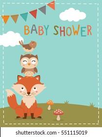 Cute woodland cartoon illustration for baby shower invitation card template