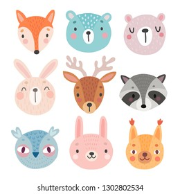 Cute Woodland characters, bear, fox, raccoon, rabbit, squirrel, deer, owl. Vector illustration.