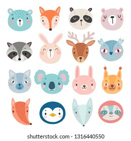 Cute Woodland characters, bear, fox, raccoon, rabbit, squirrel, deer, owl and others. Vector illustration.