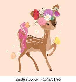 Cute woodland, forest animal deer (fawn) with flowers, floral bouquet, wreath, tied bow and ladybug crossing