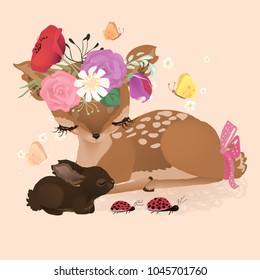 Cute woodland, forest animals deer (fawn) and dreaming baby bunny (rabbit) with flowers, floral bouquet, wreath, tied bow and ladybug crossing