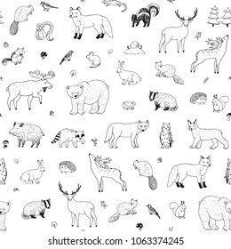 Cute woodland forest animals vector illustrations seamless pattern