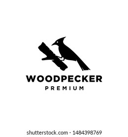 Cute Woodpecker logo in flat style isolated on white background. Vector icon illustration. Forest animal. Cartoon Wood pecker.