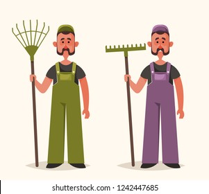 Cute Worker with Rake. Cartoon Style. Vector Illustration