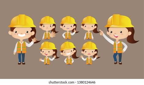 Cute worker set