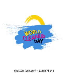 cute world cleanup day typography vector with paint of sun and sea.