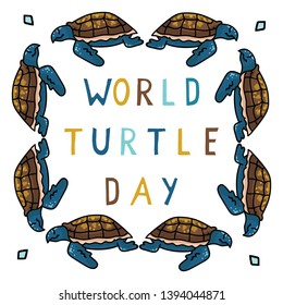 Cute world turtle day cartoon vector illustration motif set. Hand drawn isolated endangered ocean life elements clipart for animal conservation blog, shell graphi