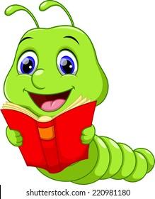 Cute Worm Reading a Book