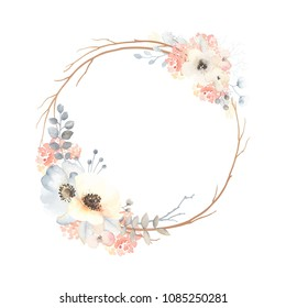 Cute wreath with flowers, leaves and branches in vintage watercolor style. Vector circle frame for your text on white background.