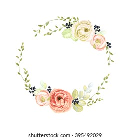 Cute wreath with green branches, ranunculus, wild Privet Berry and leaf, vector illustration in vintage watercolor style.