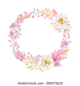 Cute wreath with leaves, white Roses, Pyrethrum and inflorescence Hydrangea, vector illustration in vintage watercolor style. Romantic design.