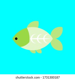 Cute X-ray Tetra Fish on Blue Background, Suitable for Child Education, scrapbook Decoration, and Sticker.